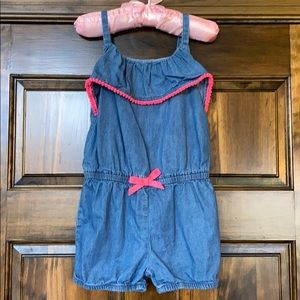 Girls 4T denim romper with pink accents